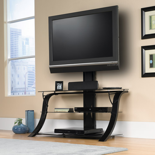 Sauder Studio Black Edge Panel TV Stand with Mount for TVs up to 50""