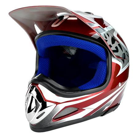 Gloss Red Full Face Dirt Bike Helmet DOT Approved ()