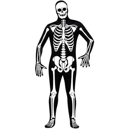 Skeleton Adult Halloween Bodysuit Costume - One - Halloween Skeleton Hair