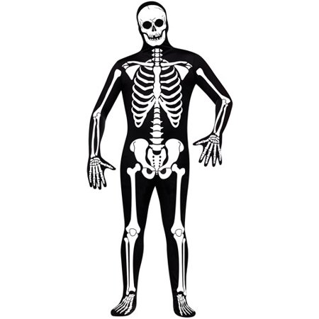 Skeleton Adult Halloween Bodysuit Costume - One Size - Skeleton Pirate Halloween Makeup