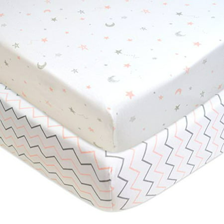 American Baby Company 2 Piece Printed 100% Cotton Jersey Knit Fitted Crib Sheet, Pink