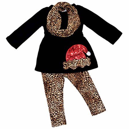 Unique Baby Girls Leopard Print Santa 3 Piece Christmas Outfit (8/XXXL, Black) for $<!---->