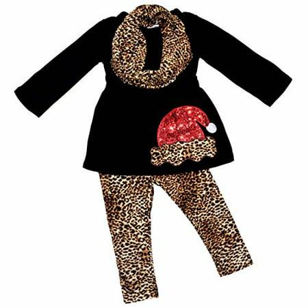 Santa Outfit For Girls (Girls Leopard Print Santa 3 Piece Christmas Outfit (8/XXXL,)