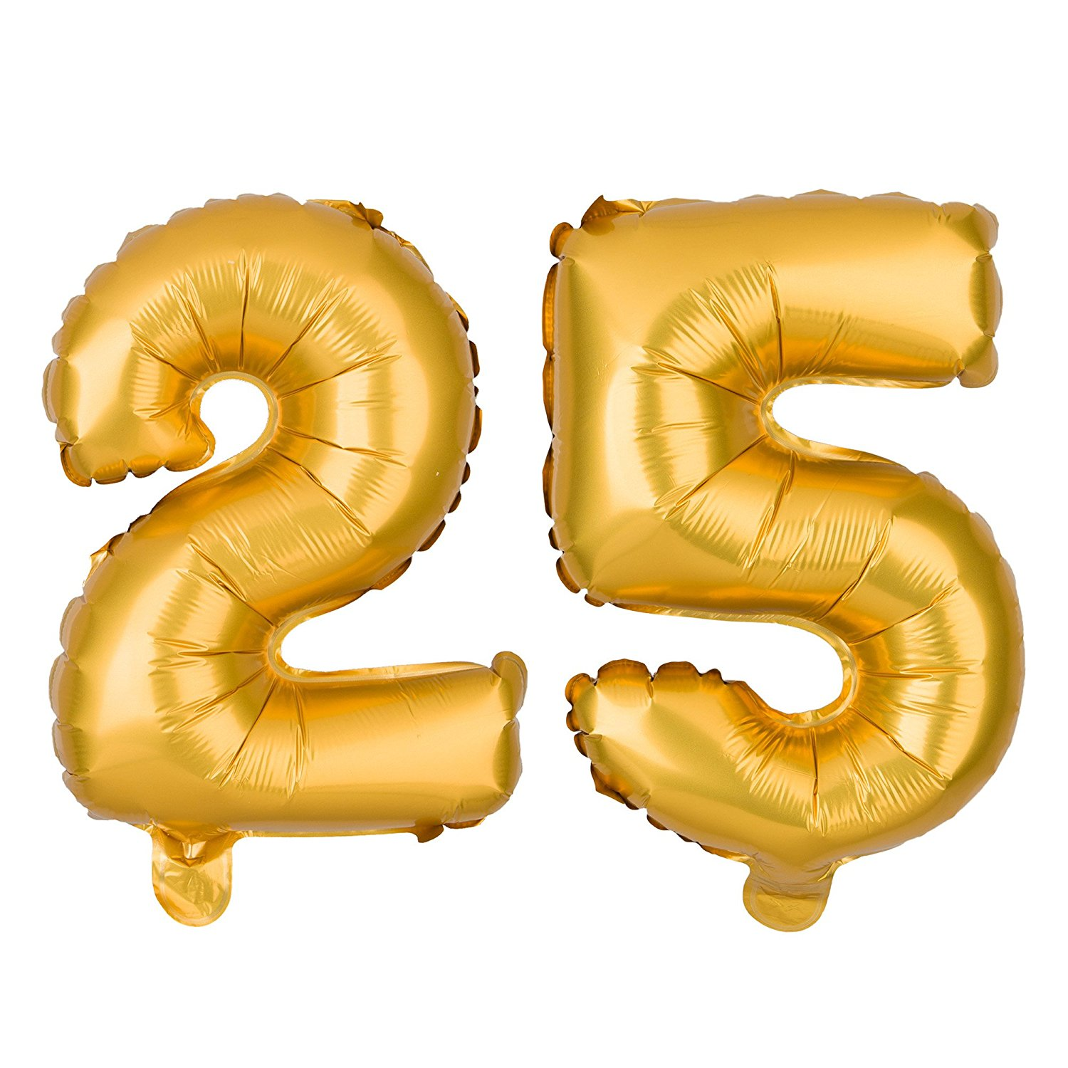 Non-Floating 25 Number Balloons 25th Birthday Party Supplies Silver Decorations Small 13 Inch (Silver)