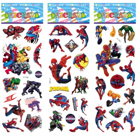 Spider-Man Style 3D Peel and Stick Puffy Colorful Stickers 50 Piece Average, Toy-SM](Colorful Spider)