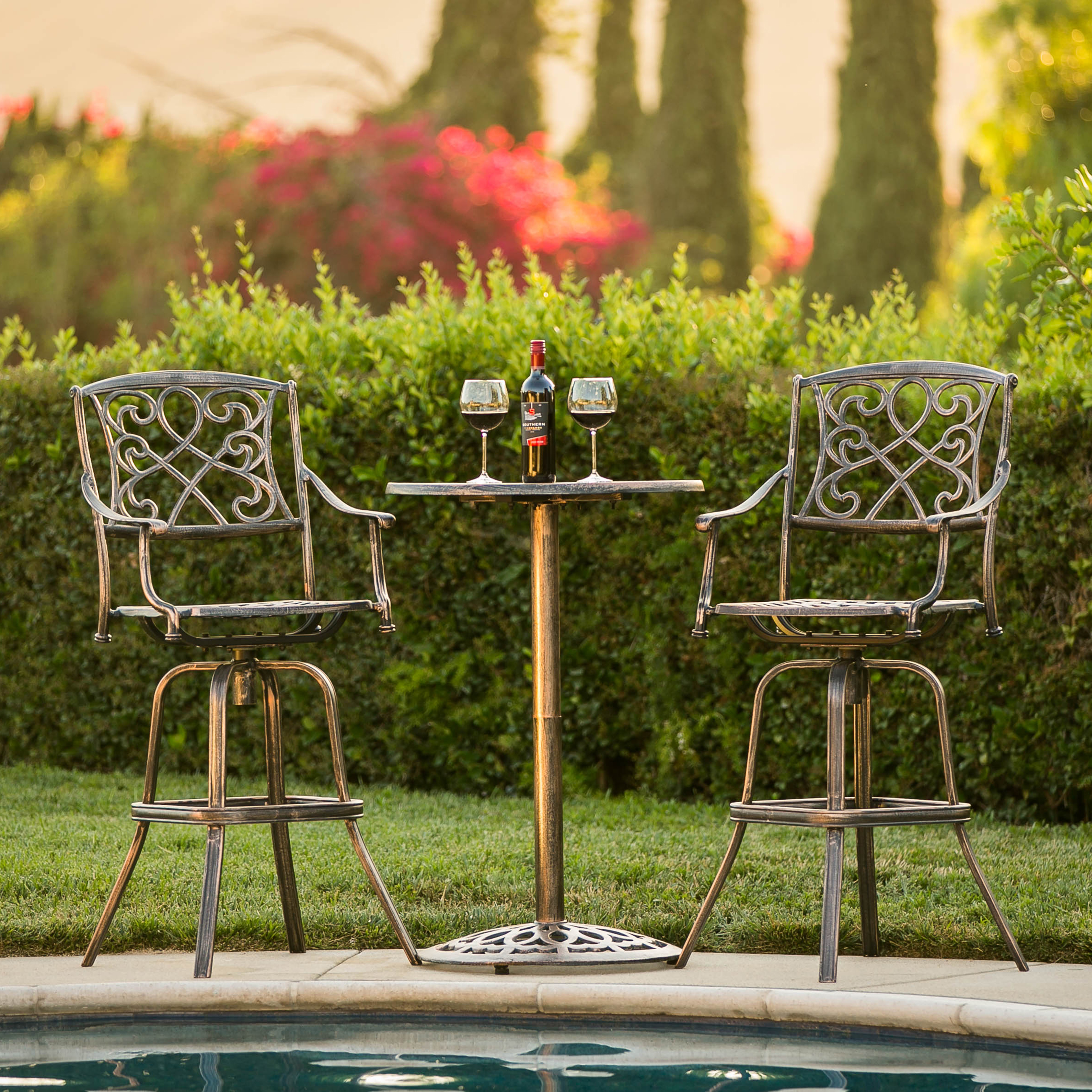 Best Choice Products 3-Piece Outdoor Cast Aluminum Bistro Set Accent Furniture for Patio, Porch, Garden  w/ 2 360-Swivel Chairs - Antique Copper