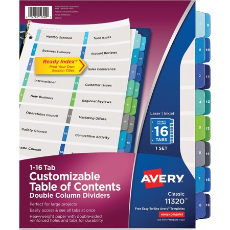 Contents Dividers Executive Kit (Avery Ready Index Customizable Table of Contents Double Column Dividers, 16-Tab, Ltr)