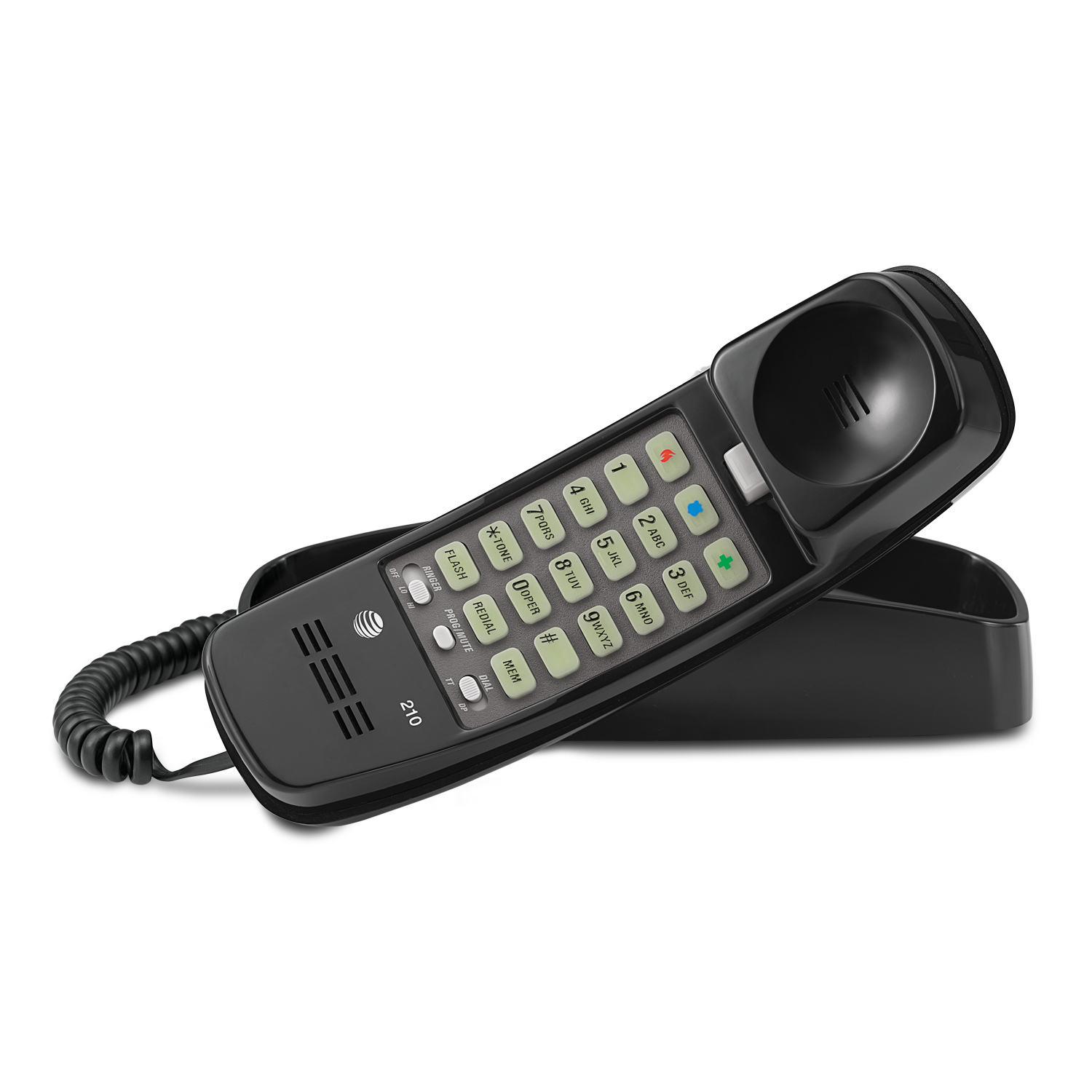 AT&T TML 210M Corded Trimline Phone With Lighted Keypad (Black)