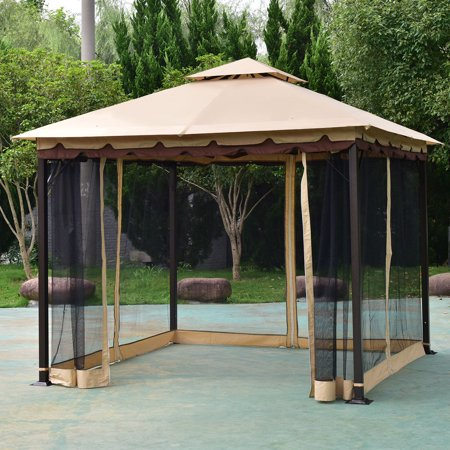 Cosplay Feet (Costway 2-Tier 10'x10' Gazebo Canopy Tent Shelter Awning Steel Patio Garden)