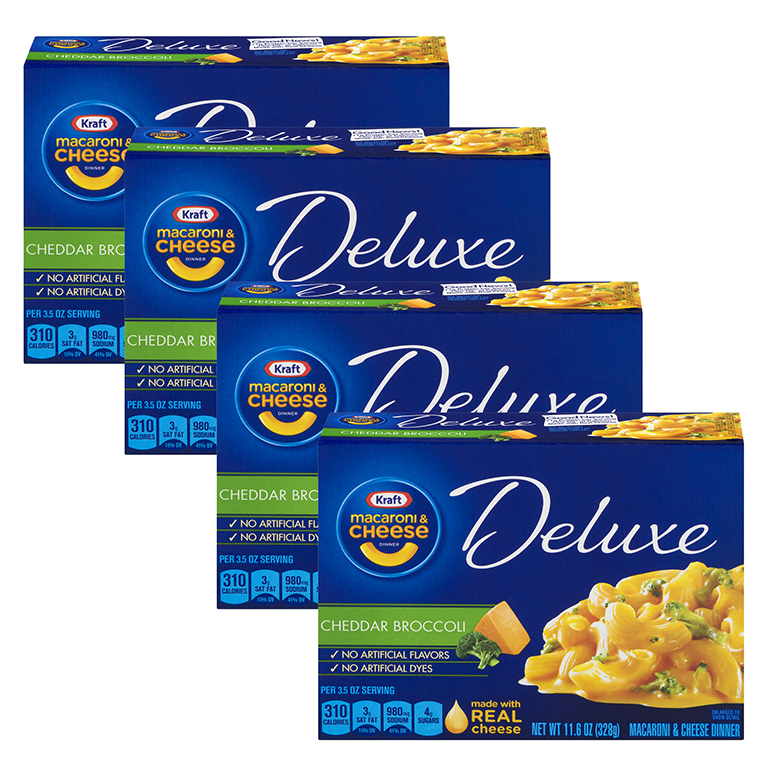 (4 Pack) Kraft Deluxe Cheddar Broccoli Macaroni & Cheese Dinner, 11.6 oz Box