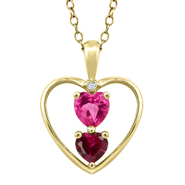 0.91 Ct Heart Shape Pink Mystic Topaz Red Created Ruby 14K Yellow Gold Pendant by