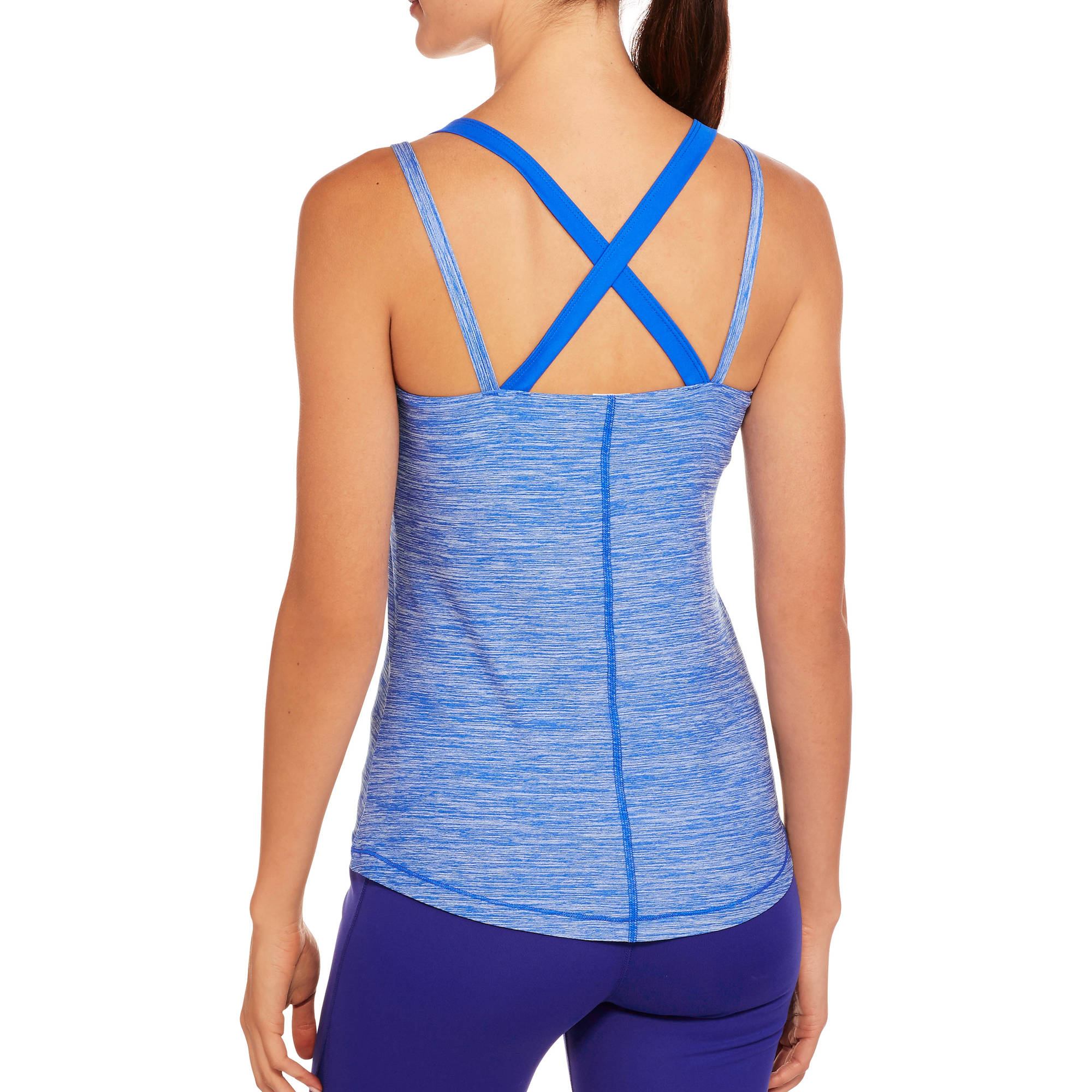 Danskin Now Women's Active Performance Tank with Built-In Sports Bra and Strappy Back