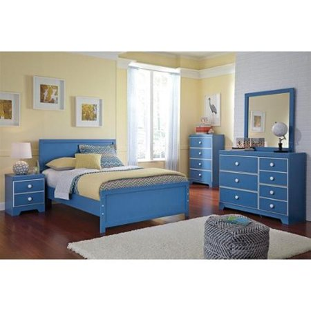 Ashley Bronilly 5 Piece Wood Full Panel Bedroom Set In Blue