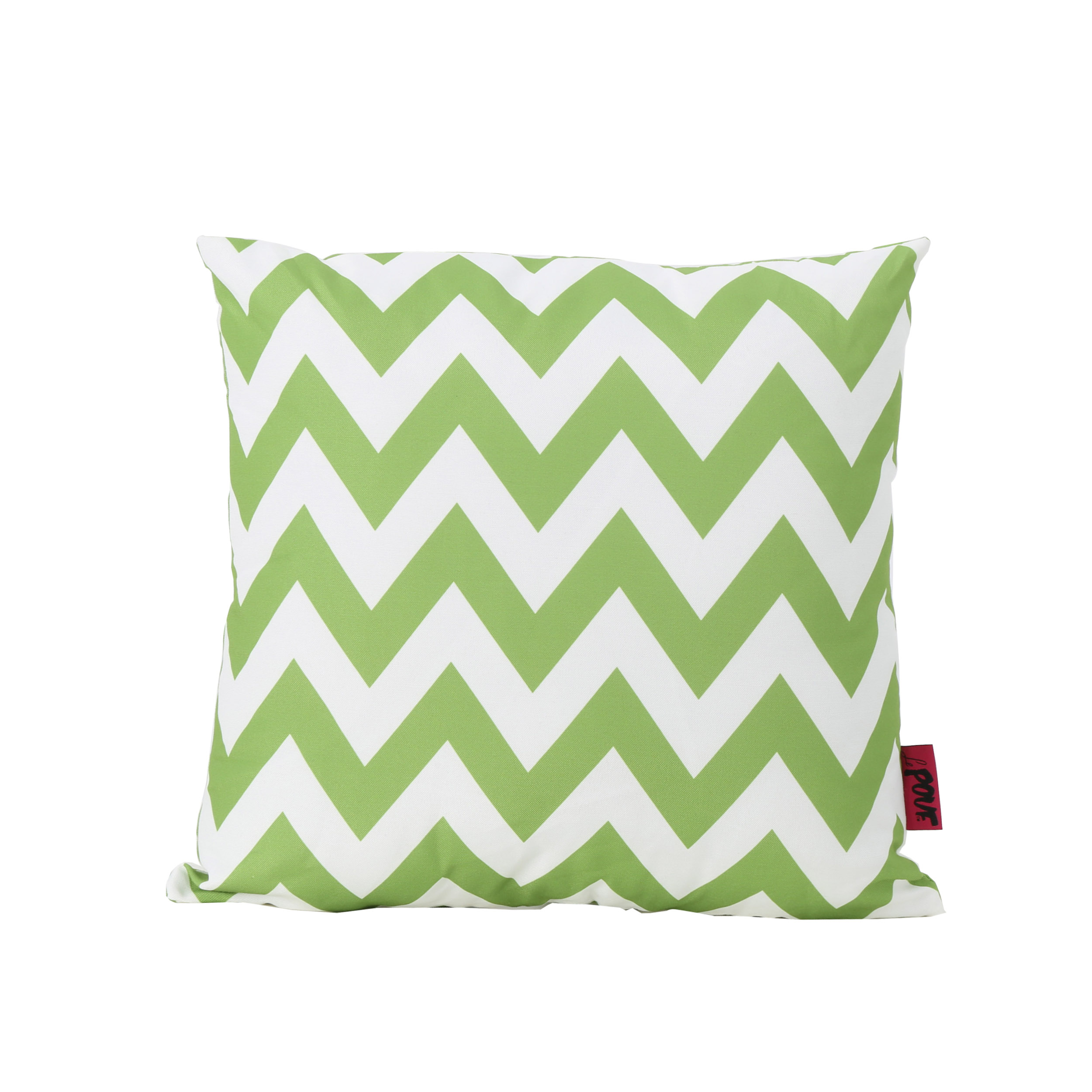 Ernest Indoor Water Resistant Square Throw Pillow, Green and White Zig Zag Stripe by GDF Studio