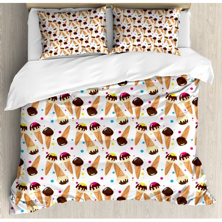 Ice Cream King Size Duvet Cover Set, Chocolate Covered Ice Cream with Colorful Little Dots Frozen Desert Waffle Cones, Decorative 3 Piece Bedding Set with 2 Pillow Shams, Multicolor, by Ambesonne