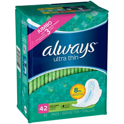 Always Ultra Thin Long Super Pads with Wings, 42 count