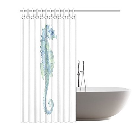 POP Cute Animal Decor Shower Curtain, Seahorse in Paintbrush Watercolor with Haze Effects Bathroom Shower Curtain, Light Blue Green 66x72 inch - image 2 of 3