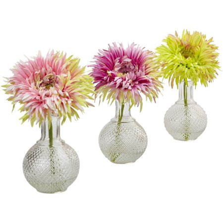 3 Daisies - Nearly Natural Daisy with Glass Vase, Set of 3