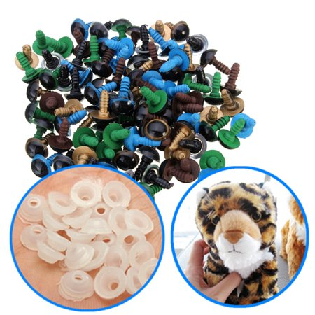 100Pcs 10mm Plastic Toy Eyes Safety Eyes DIY Craft Accessory With Washer For Teddy Bear Plush Animal Dolls Toy Multicolor (Craft Eyes)