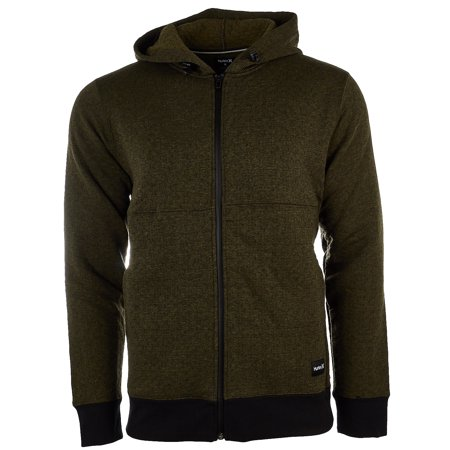 Hurley Hollowknit Fleece Full-Zip Hoodie - OLIVE CANVAS  - Mens - L