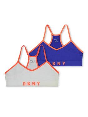 DKNY Girls Bra, 2 Pack Seamless Racerback Bralette Sizes S - XL