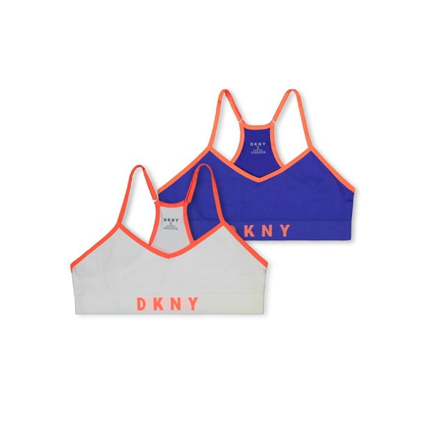 DKNY Girls Bra, 2 Pack Seamless Racerback Bralette Sizes S - XL