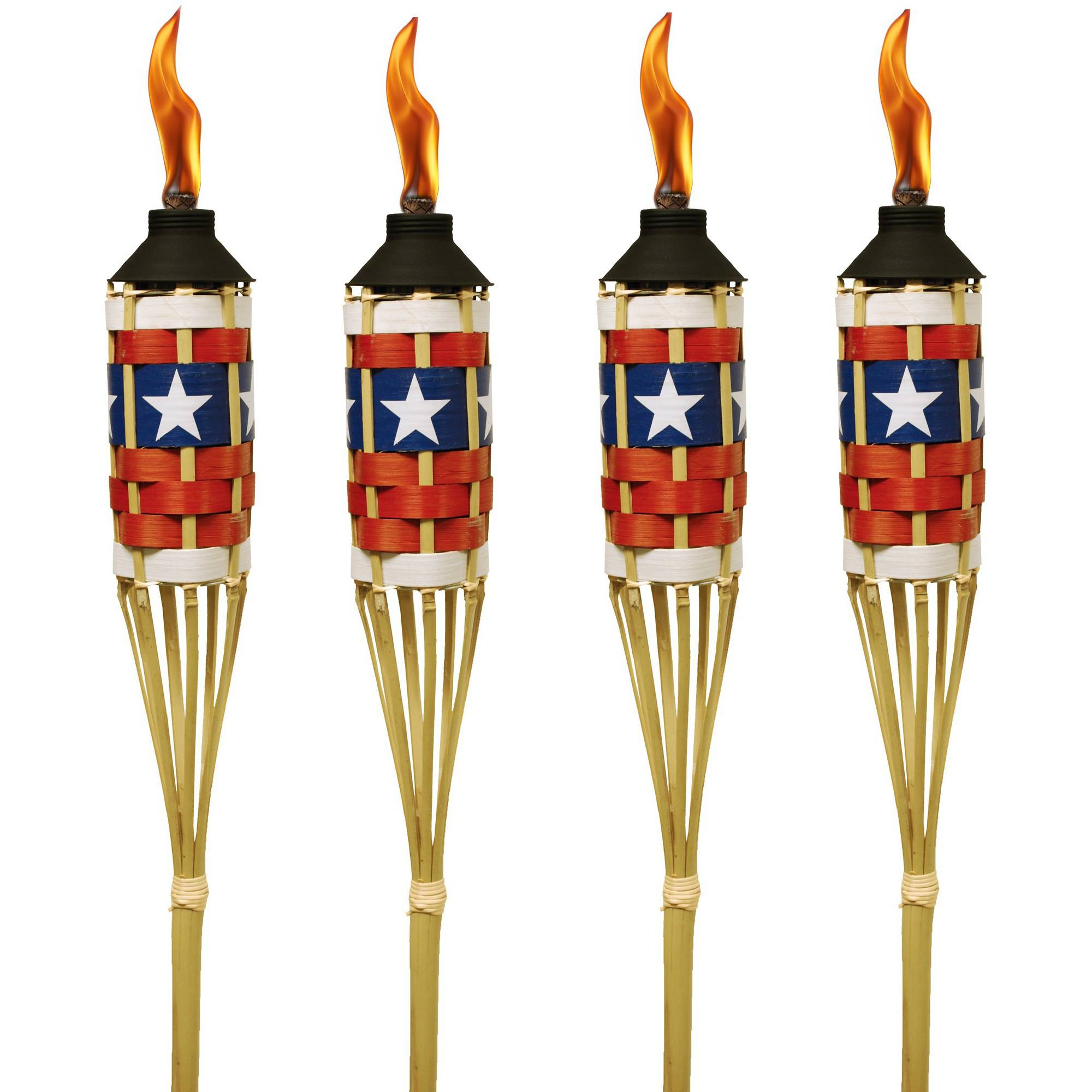 TIKI Brand Americana Bamboo Torches with FlameKeeper Set of 4 by TIKI Brand