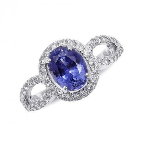 Precious Stars JJ487-sz7 14K White Gold 2.97 Carat TGW Certified Blue Sapphire & White Diamond One of a Kind Ring - Size 7 - image 1 de 1