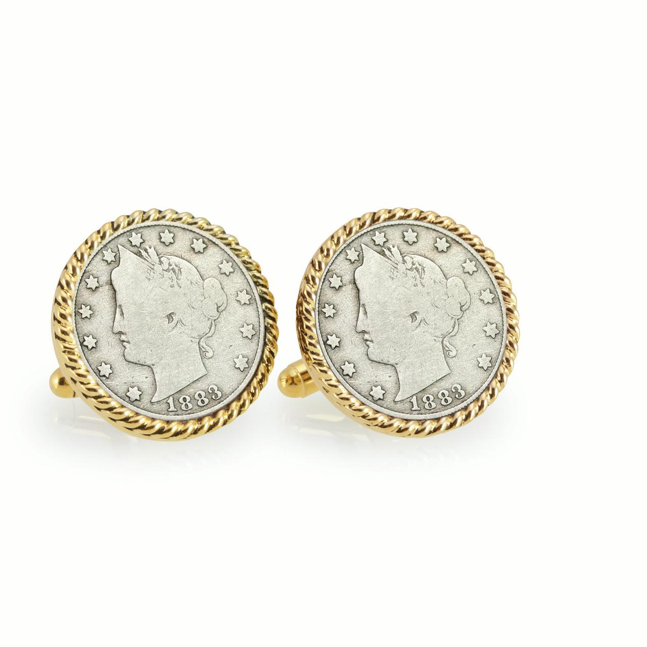 1883 First-Year-of-Issue Liberty Nickel Goldtone Rope Bezel Coin Cuff Links