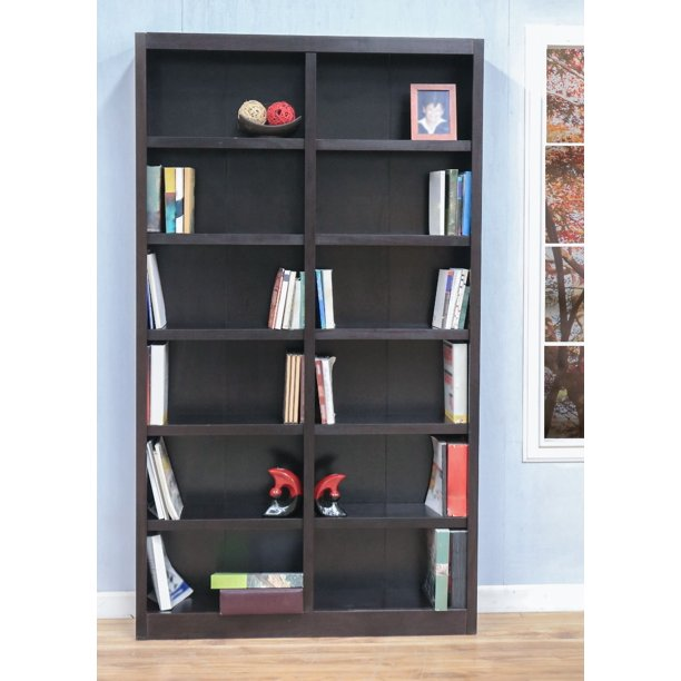 Concepts In Wood 12 Shelf Double Wide Wood Bookcase 84 Inch Tall