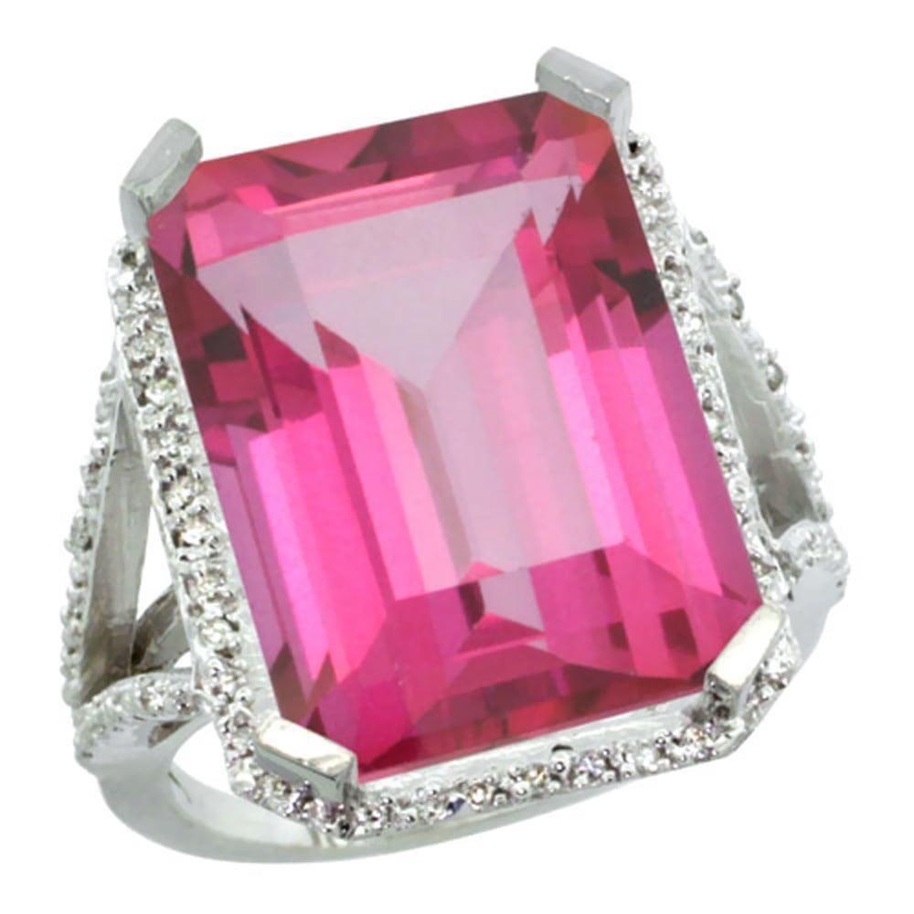 14K White Gold Diamond Natural Pink Topaz Ring Emerald-cut 18x13mm, size 5 by Gabriella Gold