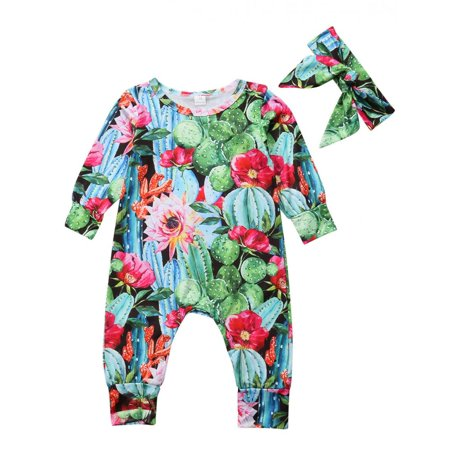 af8408eba751 Gaono - Baby Girls Long Sleeve Cactus and Floral Print Romper Jumpsuit with  Headband 12-18M - Walmart.com