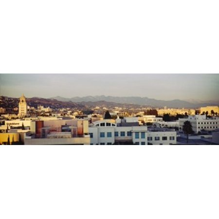 High angle view of a cityscape San Gabriel Mountains Hollywood Hills Hollywood City of Los Angeles California USA Canvas Art - Panoramic Images (18 x - Hollywood Cityscape