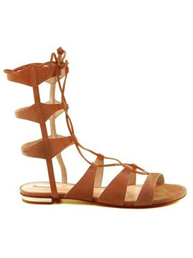 793ebf7c23a0d2 Product Image SCHUTZ Erlina Bark Tan Suede Leather Tie Up Flat Gladiator  Sandals (11)
