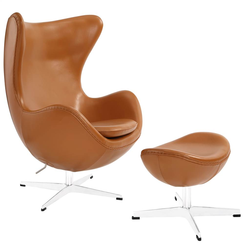 Glove Leather Lounge Chair and Ottoman in Terracotta