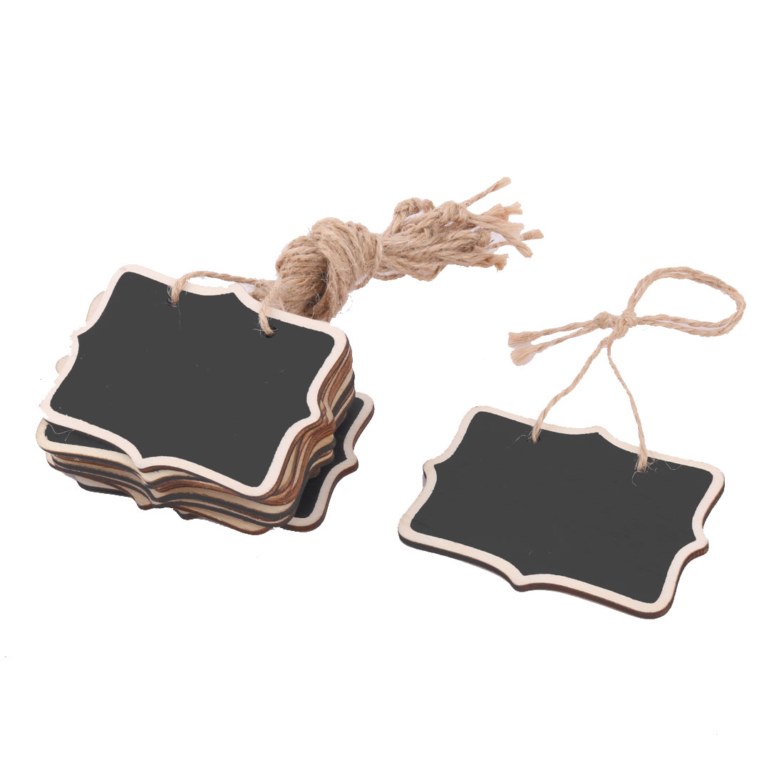 Kitchen Wooden Message Memo String Hanging Reusable Chalkboard Blackboard 12pcs