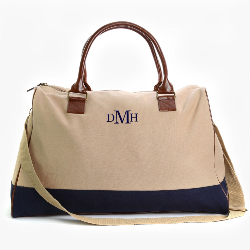 Embroidered Monogram Weekender Bag