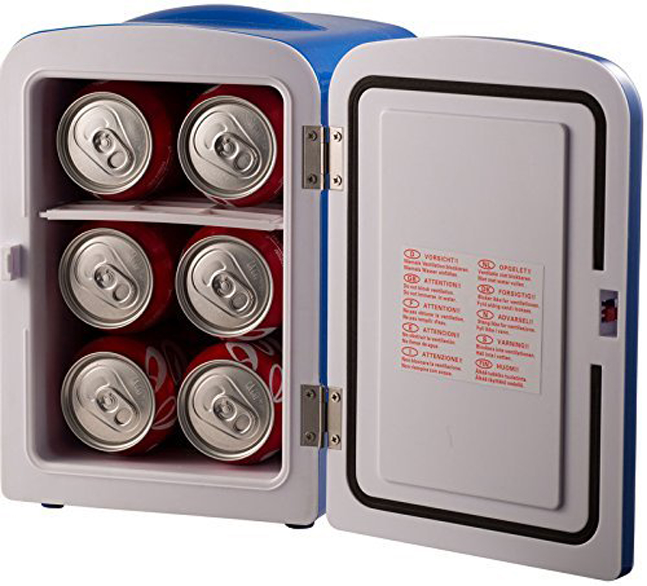 Gourmia GMF-600B Portable 6 Can Mini Fridge Cooler and Warmer for Home, Office, Car or Boat AC & DC, Blue