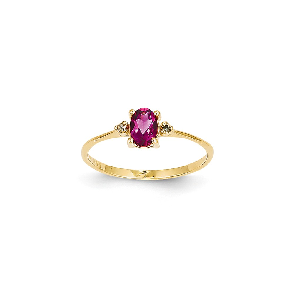 14K Yellow Gold (0.016cttw) Diamond and Pink Tourmaline Birth Month Ring Size-6 by