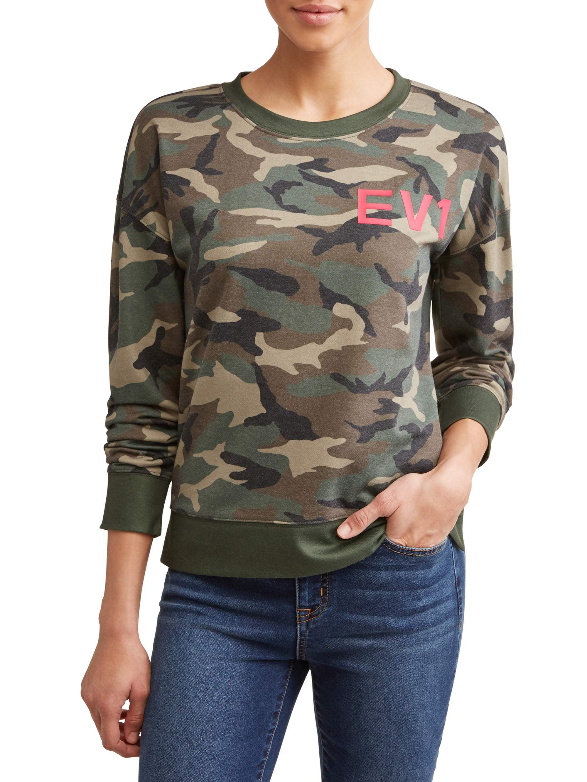 Camo Printed Crewneck Sweatshirt Women's