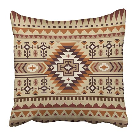 ECCOT Brown Navajo Ethnic Pattern Design Beige Tribal Abstract American Antique Pillowcase Pillow Cover 20x20 inch