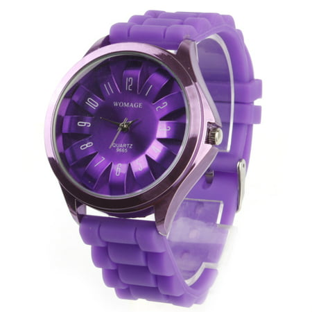 Women's Chrysanthemum Style Dial Silicone Band Quartz Analog Wrist Watch flowers watch candy gril watch Purple Band Quartz Analog Watch