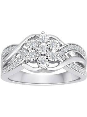 1/4 Carat T.W. Diamond Sterling Silver Snowflower Statement Ring