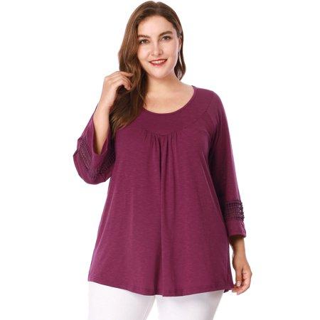 Unique Bargain Women's Plus Size Raglan Sleeves Top (Size 3X) Purple (Plus Size Bargains)