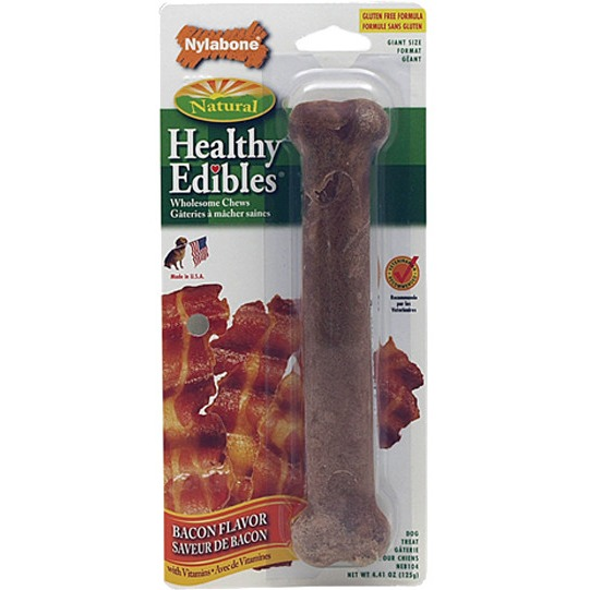 "Nylabone Healthy Edibles Bacon Flavored Bone, Giant, 8"" L"
