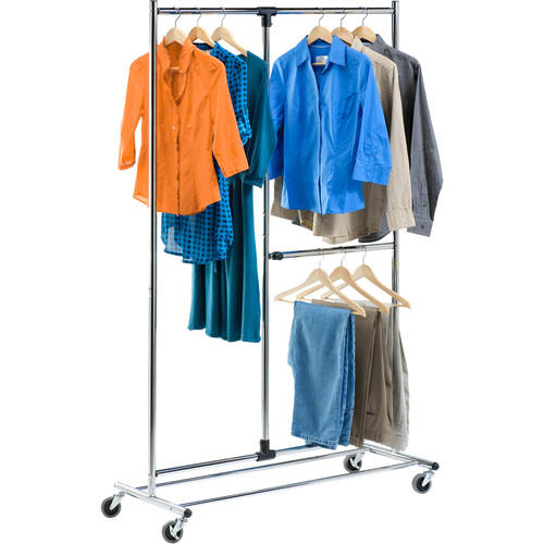 "Honey Can Do 80"" Dual Bar Adjustable Garment Rack, Chrome"