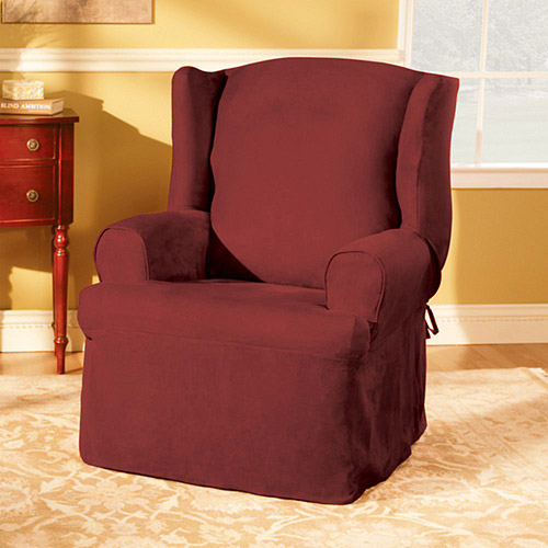 Sure Fit Soft Suede Wing Chair Slipcover Walmart
