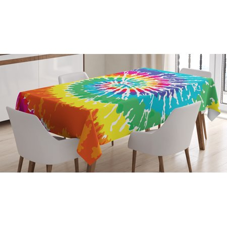 Tie Dye Decor Tablecloth, Digital Spiral Vortex Vibrant Rainbow Colored Sixties Ikat Psychedelic Pattern , Rectangular Table Cover for Dining Room Kitchen, 60 X 90 Inches, Multi, by - Tie Dye Tablecloth
