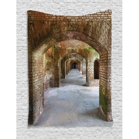 Breeze Tapestry - Vintage Tapestry, Brick Arches Dry Tortugas Old Fort Historic Heritage Tourist Attraction Vintage Design, Wall Hanging for Bedroom Living Room Dorm Decor, Bronze, by Ambesonne