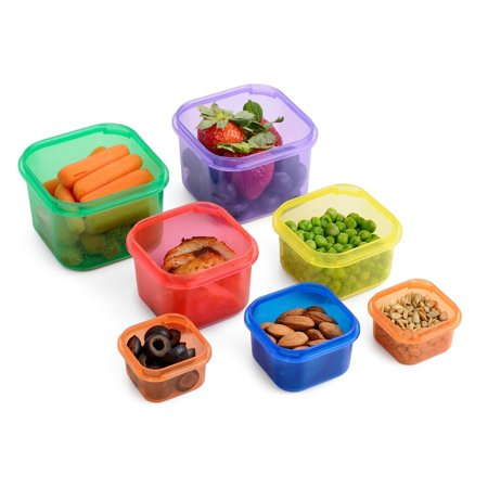 meal prep haven 7 piece multi colored color coded portion control container kit. Black Bedroom Furniture Sets. Home Design Ideas